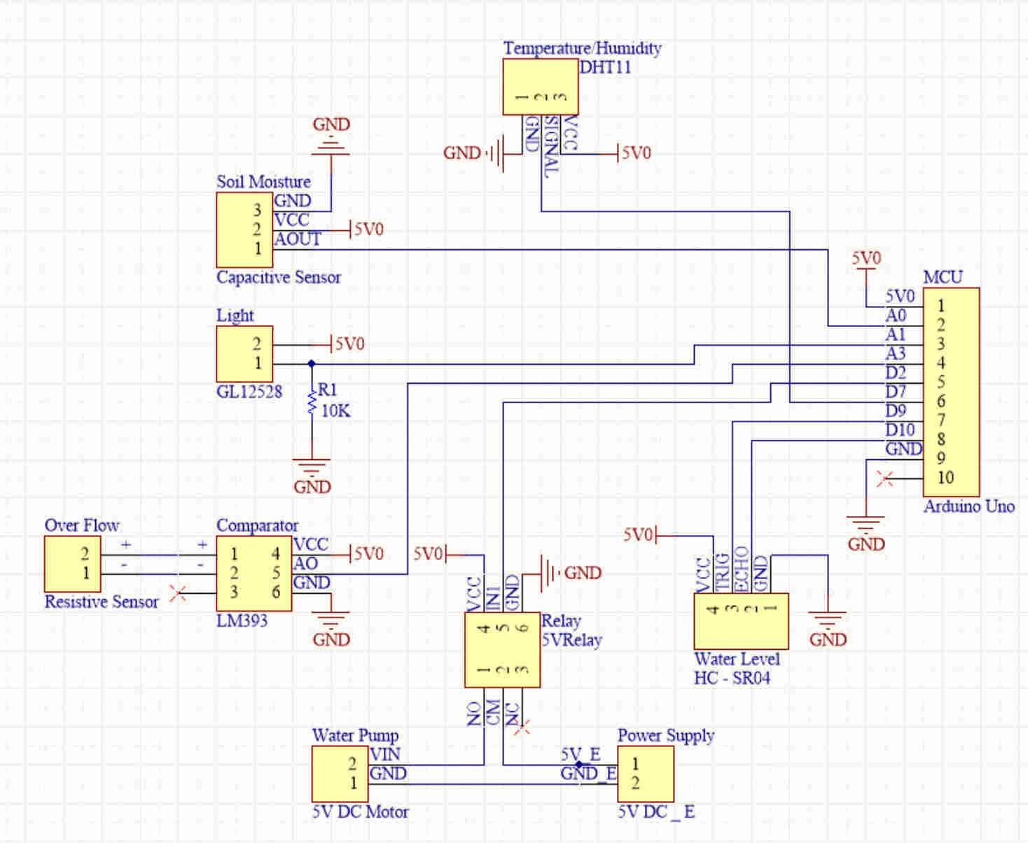 Automated Plant Watering Circuit Diagram